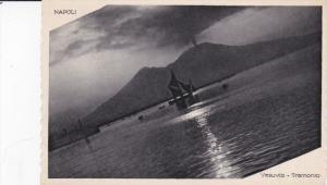 NAPOLI, Campania, Italy, 1900-1910´s; Vesuvio Tramonto, Sail Ships