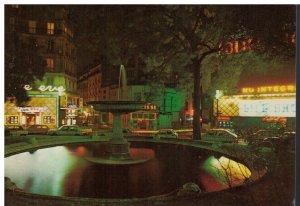 Postcard - Paris La Nuit Place Pigalle Rue du Buisson St Louis Fountain France
