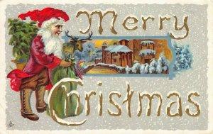 LP04  Santa Claus Christmas Holiday postcard Deer Green Bag Toys
