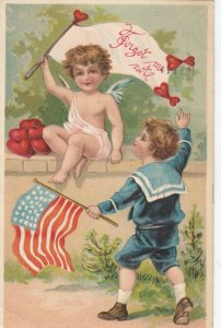 Sailor with USA Flag & Cherub , Forget me not , 1911