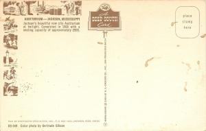 Jackson Mississippi~City Auditorium~Night Lights~1960s Postcard
