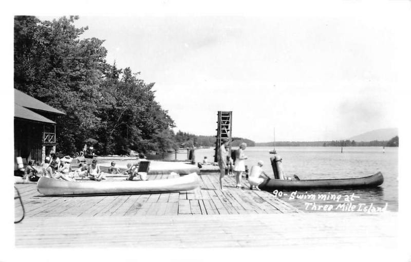 Three Mile Island Pennsylvania Swimming Row Boats Real Photo Postcard K85760