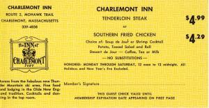 1968 Charlemont Inn 'Dine-Out' Coupon, Charlemont, Mass/MA