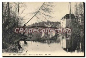 Old Postcard Arcy sur Cure The Cure and Bridge