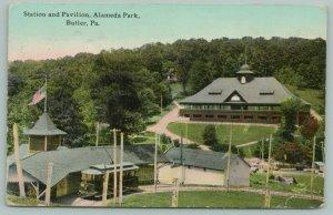 Butler Pennsylvania~Alameda Park~Station & Pavilion~Trolley Comes up Hill~c1910