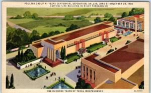 TEXAS CENTENNIAL EXPOSITION Postcard Poultry Group / Ag Building 1938 Cancel