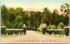 Wisconsin Dells WI Hand-Colored Postcard Entrance to CHULA VISTA RESORT HOTEL