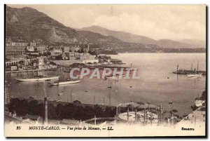 Old Postcard Monte Carlo View from Monaco Yacht