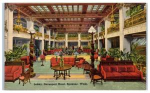 1944 Lobby, Davenport Hotel, Spokane, WA Postcard