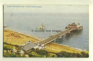 tp5492 - Kent - Looking down onto the Pier from The Leas, Folkestone - Postcard