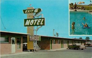 Fremont Ohio~Exit Six Motel~1950s Station Wagon w/Fins~Postcard