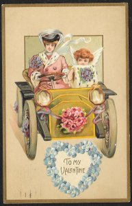 To My Valentine Lady & Cupid Driving Car Used c1910