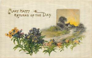 Silk Postcard Many Happy Returns of the Day floral country scene pm