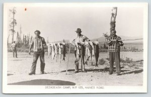 Haines Junction YT Fish String~Dezadeash Lake Govt Camp~Bears Come Up~RPPC 1953