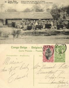 belgian congo, MATEBA Island, Native Oil Mill (1920s) Postcard (28)