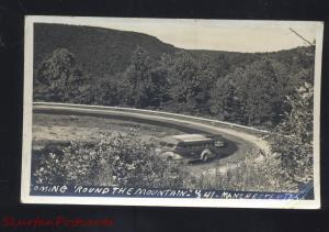 RPPC MANCHESTER TENNESSEE MOUNTAIN ROAD ANTIQUE BUS REAL PHOTO POSTCARD