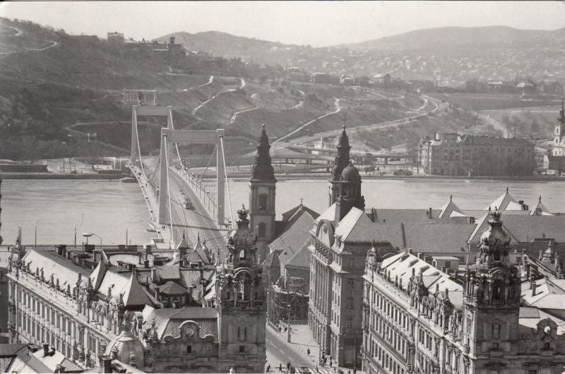 EASTERN EUROPE DANUBE RIVER BRIDGES BUDAPEST HUNGARY REAL PHOTO POSTCARD