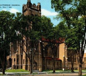 Trinity Evangelical Lutheran Church, Peoria, Illinois, vintage chrome postcard