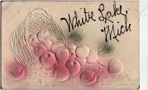 1910 WHITE LAKE Michigan Mich Postcard H. Bander NY Fruit Basket Greeting