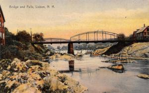 Lisbon New Hampshire~Camel Back Bridge~Homes Both Sides~Falls~1908 Rotograph PC