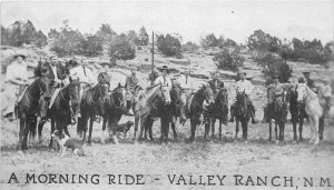 G44/ Valley Ranch New Mexico Postcard c1930s Morning Ride Horses