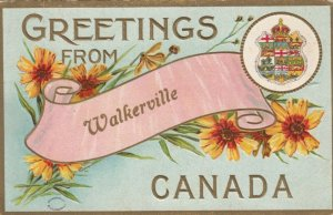 WALKERVILLE , Ontario , 1910 ; Banner, Flowers & Coat of Arms