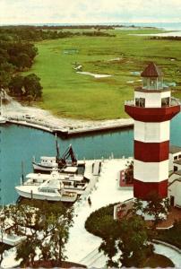 South Carolina Hilton Head Island Harbour Town Golf Club 18th Fairway & Light...