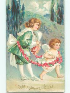 Unused Pre-1907 valentine CUPID LEADS BOY WITH ROSE FLOWER CHAIN k9143