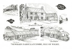 Art Sketch Postcard Newbarn Farm GATCOMBE Isle of Wight by Don Vincent AS1
