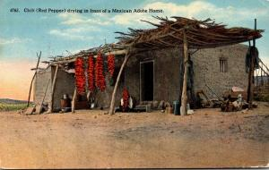 Mexico Chili Drying In Front Of A Mexican Adobe Home 1914