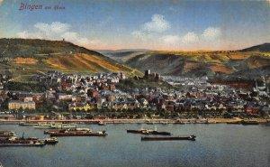 Bingen am Rhein River Boats Panorama Postcard