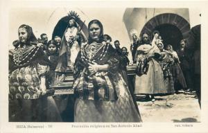 IBIZA Baleares religious procession San Antonio Abad real photo postcard