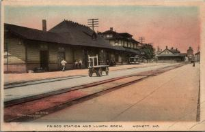 Monett MO~Railroad Depot~Frisco Station~Fred Harvey Lunch Room~c1910 Handcolored
