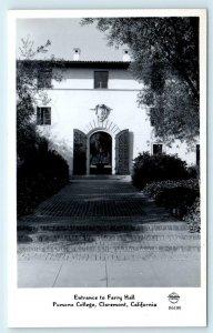 RPPC CLAREMONT, CA ~ POMONA COLLEGE Farry Hall c1940s  Frasher Postcard
