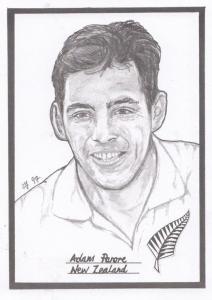Adam Parore New Zealand Cricket Artist Drawing Limited Edn of 500 Postcard