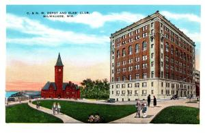Wisconsin  Miwaukee , C & N, Depot and Elks Club