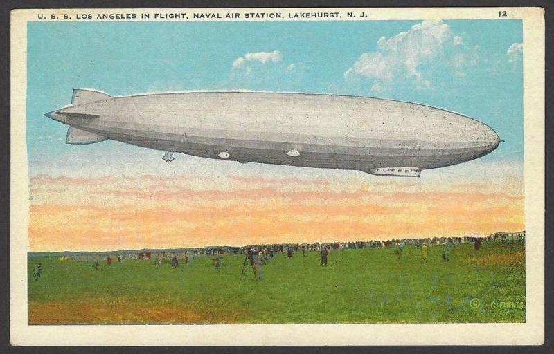 U.S.S. LOS ANGELES ZR-3 in Flight vintage color postcard Zeppelin
