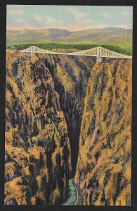 Suspension Bridge Highest Bridge in the World Royal Gorge Colorado Unused c1935