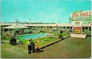 Lordsburg, New Mexico Postcard SEA SHELL MOTEL Highway 70 / 80 Roadside - 1968