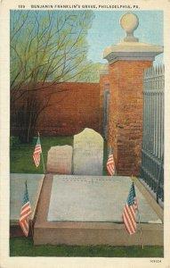 Philadelphia PA, Pennsylvania - Grave of Benjamin Franklin - pm 1937 - WB