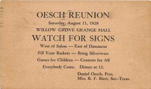 F41/ Salem Ohio Postcard Columbiana County c1928 Oesch Reunion Grange Hall 21