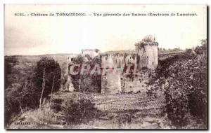 Old Postcard Chateau de Tonquedec General View of Ruins