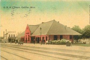 G.R. & I Depot Cadillac Michigan 1911 Postcard railroad Tracks 11166