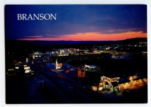 Postcard Highway 76 West Branson Missouri Nighttime Aerial Continental View Card