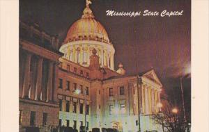 Mississippi Jackson State Capitol Building At Night