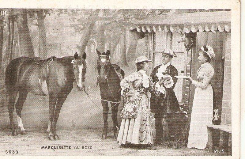 Marquesette au Bois. Horses Old vintage French advertising postcard