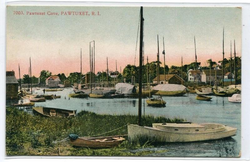 Boats Yachts Pawtuxet Cove Rhode Island 1910c postcard