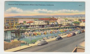 P2215, 1968 postcard birds eye view many old cars boats fishermans wharf calif