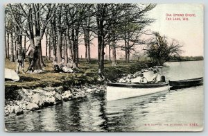 Fox Lake Wisconsin~Oak Spring Shore~Family on Bank~Fellas in Fishing Boat~1911