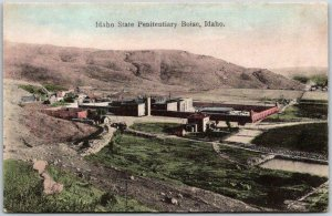 1909 Boise, ID Postcard HAND-COLORED Idaho State Penitentiary Bird's-Eye View